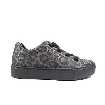 Ara Courtyard 37486-70 Grey Leopard Print Nubuck Leather Womens Lace Up Sneakers