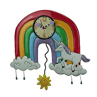 Allen Designs Rainbows and Unicorns Pendulum Wall Clock