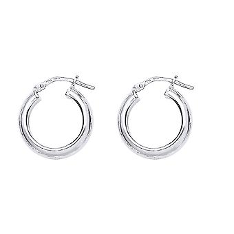Jewelco London Ladies Rhodium Plated Sterling Silver # Round Tube Polished Hoop Earrings 18mm 2mm