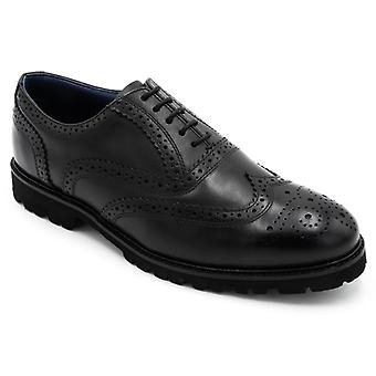 Padders Stamford Mens Leather Wide (g Fit) Brogue Shoes Black