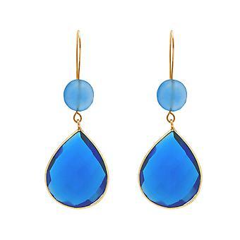 Gemshine øreringe blå chalcedony og blå topas drop 925 forsølvede