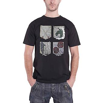 Attack on Titan T Shirt Shields Anime Manga new Official Mens Black