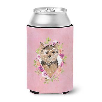 Carolines Treasures  CK4220CC Norwich Terrier Pink Flowers Can or Bottle Hugger