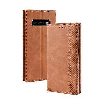 Pour Samsung Galaxy S10 PLUS Case,Retro PU Leather Folio Wallet Cover,Brown