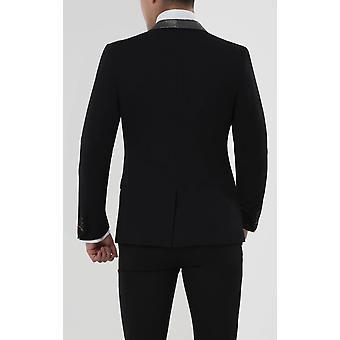 Nytte London Herre sort Tuxedo Jakke Skinny fit kontrast Shimmer revers