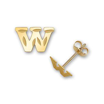 14k Yellow Gold Letter Name Personalized Monogram Initial W Stamping for boys or girls Earrings Measures 6x9mm