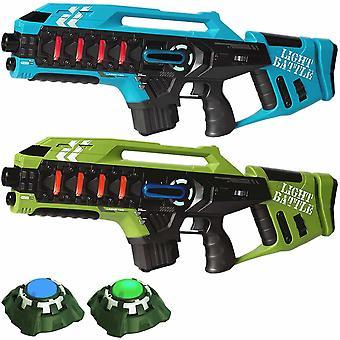 2 Anti-Cheat lasergame geweren - blauw en groen + 2 targets