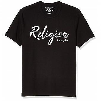 True Religion Raised Logo Crew Neck Black T-Shirt 103207