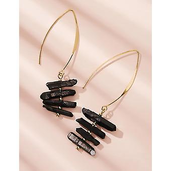 Tiered stone drop earrings 1pair