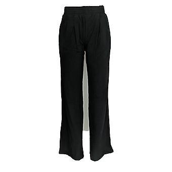 Anybody Women's Pants Tall Cozy Knit Wide Leg Black A347174