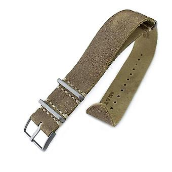 Strapcode n.a.t.o watch strap 20mm or 22mm miltat g10 grezzo nato watch strap, olive green distressed leather extra soft, sandblasted