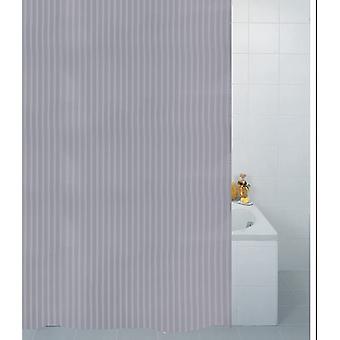 Sølv tekstil Stripe Polyester dusj gardin 180 x 180cm