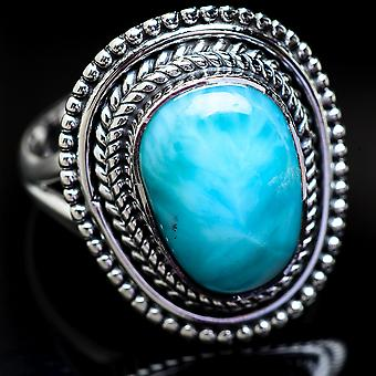 Larimar Ring Size 9 (925 Sterling Silver)  - Handmade Boho Vintage Jewelry RING3772