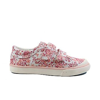 Startrite Bounce Rosa Blommig canvas flickor ripp tejp casual skor