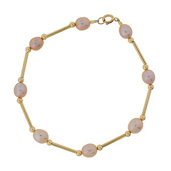 TOC 9ct Yellow Gold Pink Oval Freshwater Cultured Pearl Bracelet 8