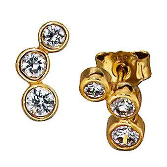 ترصيع 333 الذهب الأصفر الذهبي 6 الزركونيا أقراط الذهب ترصيع