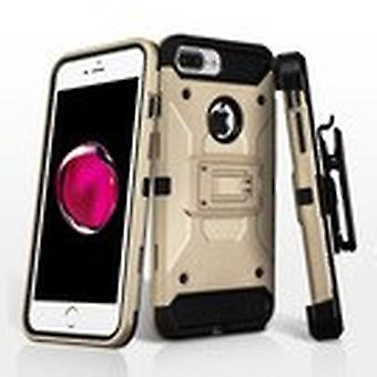 ASMYNA 3-in-1 Kinetic Hybrid Case with Holster for iPhone 8/7 Plus - Gold/Black