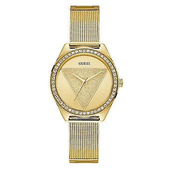 Guess Watches Guess Ladies Gold Glitz Logo Dial Watch W1142L2