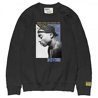 Replay Tribute 2pac Logo Crew Neck Sweathirt Musta M3988