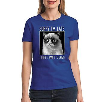 Grumpy Cat Sorry I'm Late Women's Royal Blue Funny T-shirt