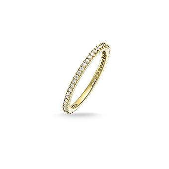 Thomas Sabo 18ct Gold Plated And White Zirconia Slim Band Ring
