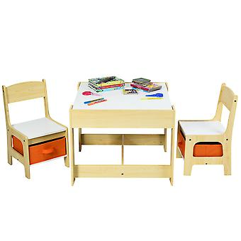 3 IN 1 Kids Activity Table Chairs Set Double Side Tabletop Desk Wood Furniture