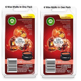 2 x Air Wick Wax smelt 66g - glühwein door het vuur