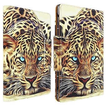 """Folio Cover with Card Slots & Stand for 10 / 11"""" Tablet- Leopard Design- Yellow"""