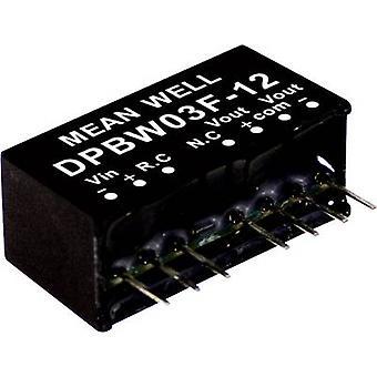 Mean Well DPBW03G-05 DC/DC omvandlare (modul) 300 mA 3 W Nr. av utgångar: 2 x