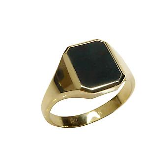 Gold cachet ring with heliotrope