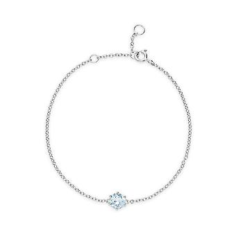 Classic Round Blue Topaz 6 Claw Set Single Stone Bracelet in 925 Sterling Silver 270L010801925