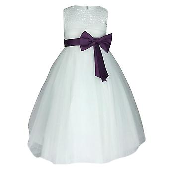 Flower Girls Ivory & Purple Party Dress With Satin Bow
