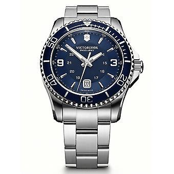 Victorinox Maverick Quartz Montre Bleu Dial Silver Bracelet 241602