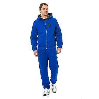Billionaire Italian Couture Blue Cotton Hooded Floral Lined Sweatsuit