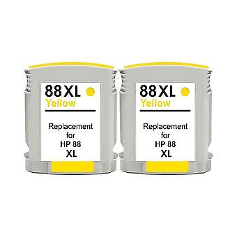 RudyTwos 2x Replacement for HP 88XL Ink Unit Yellow Compatible with Officejet Pro K550, K550dtn, K550dtwn, K5300, K5400, K5400dn, K5400dtn, K5400n, K8600, K8600dn, L7000, L7400, L7480, L7500, L7550, L