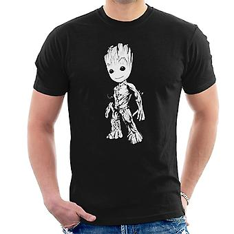 Marvel Guardians Of The Galaxy Vol 2 Groot Black And White Men's T-Shirt