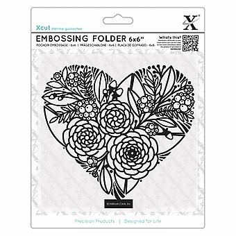 Xcut 6x6 Inch Embossing Folder Floral Heart