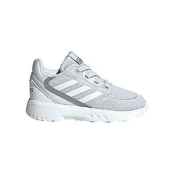 adidas Nebzed Infant Baby Kids Sports Trainer Shoe Grey/White