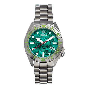 Shield Atlantis Abalone Bracelet Watch w/Date - Teal