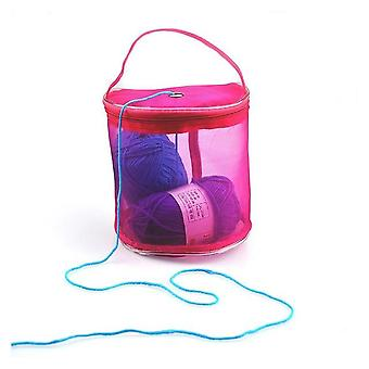 Portable Wire Mesh, Weaving Round Wool -knitting Storage Bag Organizer