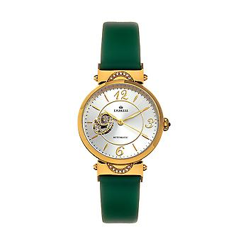 Empress Alouette Automatic Semi-Skeleton Leather-Band Watch - Green