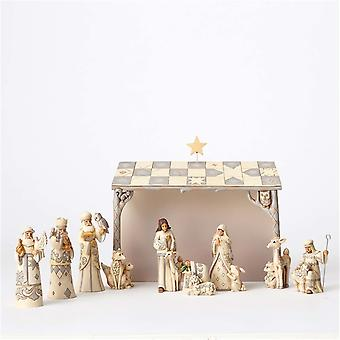 White Woodland 8 Pc Nativity Christmas Nativity