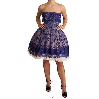 Dolce & Gabbana Lilla Blonde Ballerina Tulle stropløs kjole