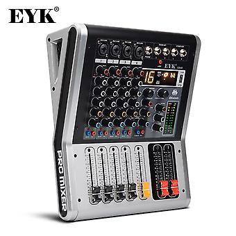 4 Channels Mixing Console with Mute and PFL Switch Bluetooth Record 3BAND 16 DSP Effect USB Audio Mixer DJ