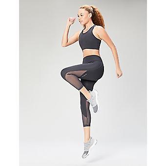 Brand - Core 10 Women's Longline Pocket Sports Bra, Dark Grey, Small