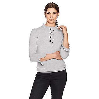 Lark & Ro Frauen's Pullover Rüschen Kaschmir Pullover, leichte Heather Grey, Medium