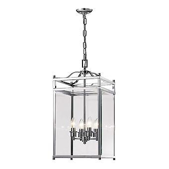 inspirert diyas - aston - tak anheng lanterne 4 lys polert krom, glass