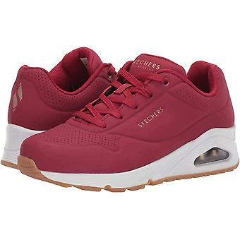 Skechers Women's Shoes Uno-Stand on Air Leather Low Top Lace Up Fashion Sneak...