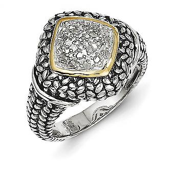 925 Sterling Silver Textured Polished Prong set Antique finish With 14k 1/10ct. Diamond Ring Jewelry Gifts for Women - R