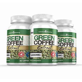 Gröna kaffebönor extrakt 5,000mg - 180 kapslar - Fett brännare - Evolution bantning